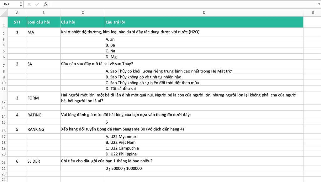 Cấu trúc bảng khảo sát trên file Excel để upload lên Khaosat.me